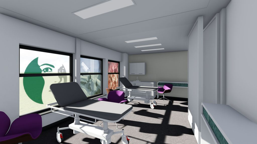 Image shows a typical treatment room layout with furniture and storage, materials and colours