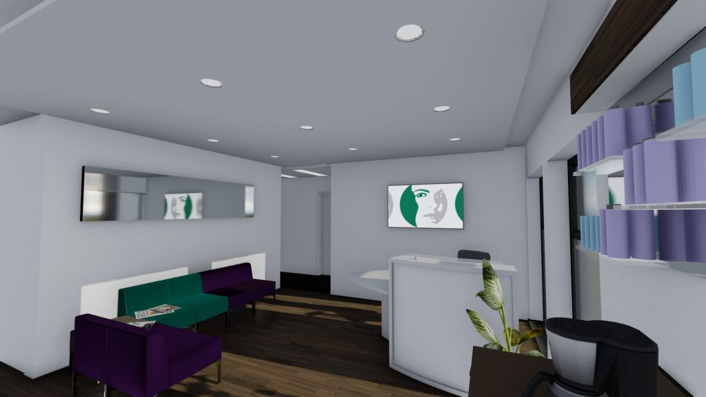Image shows the reception desk and waiting area with facilities for tea and coffee